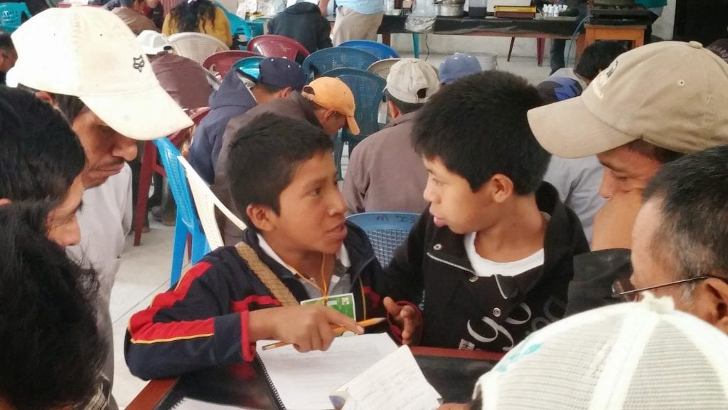 Kids at Maya Ixil workshop learning about beekeeping