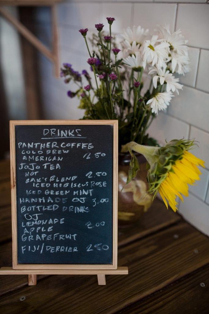 drink menu on black board
