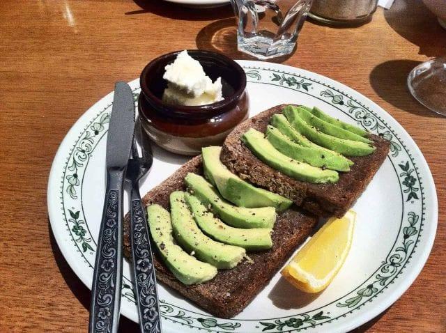 avocado slices on toast