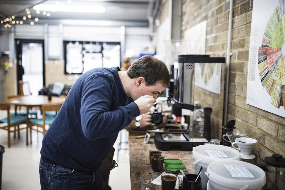 Cupping coffee at Horsham coffee roasters