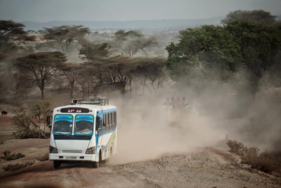 bus on dusty road