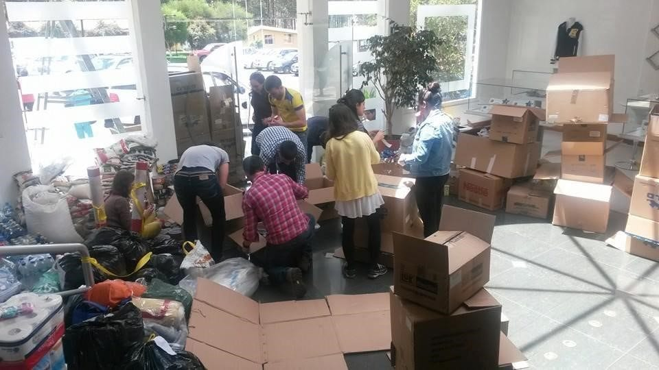 Coffee Academy packaging supplies for communities after the Ecuador earthquake