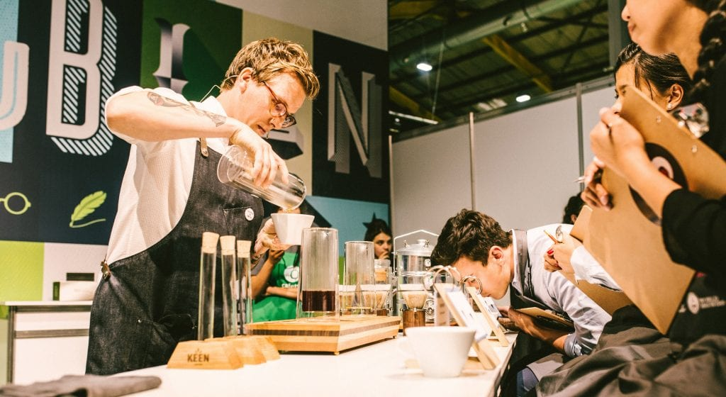 Rob Kerkhoff of Keen Coffee, Dutch Brewers Cup Champion, competing.