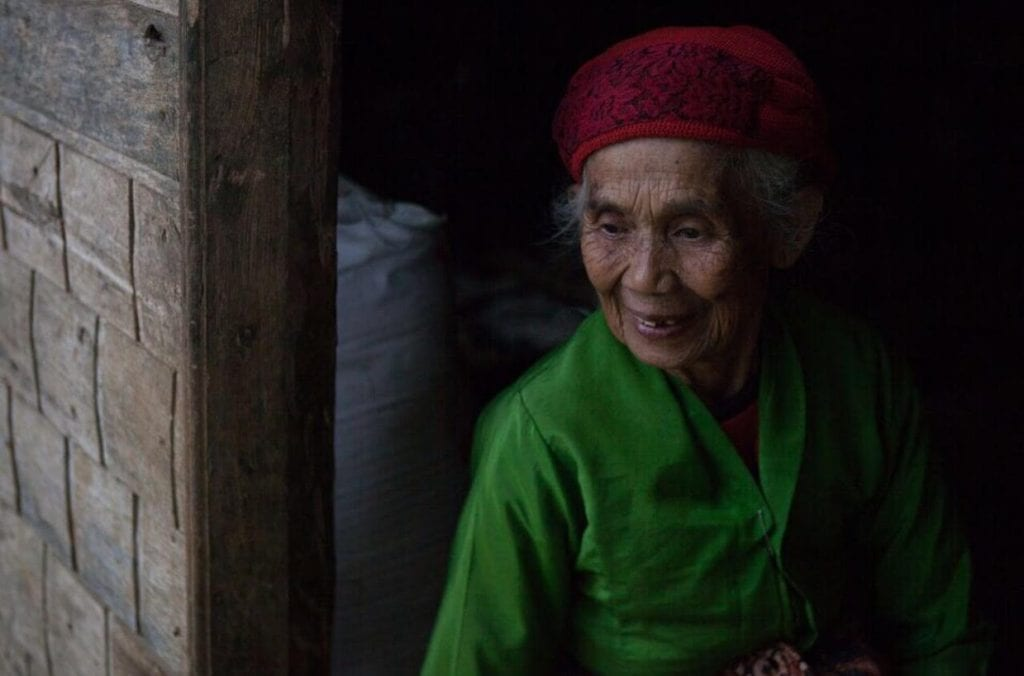Elderly female Javanese coffee farmer