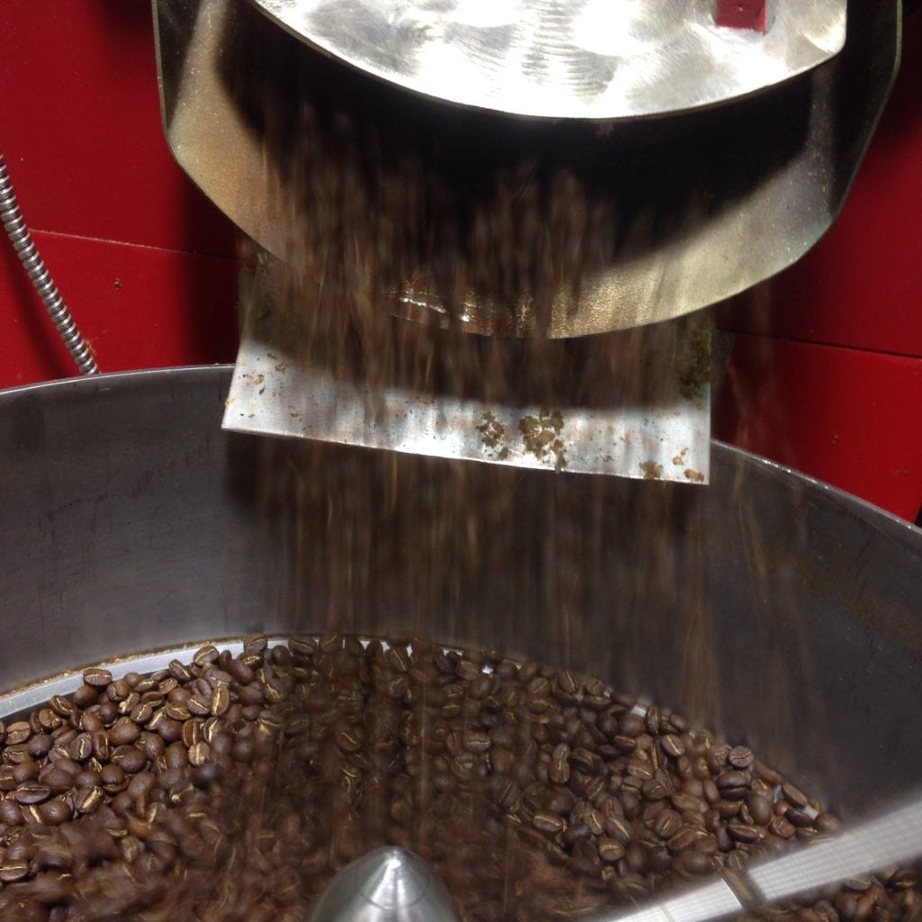 Coffee being released to cool