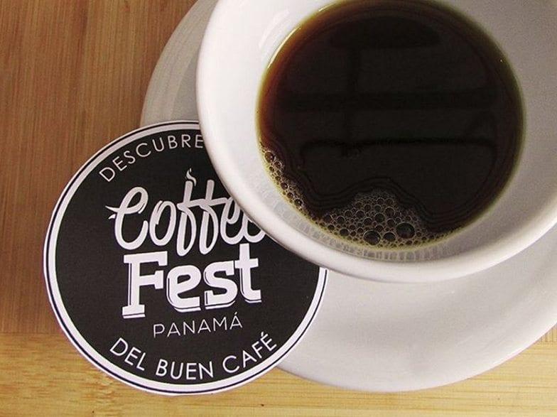 Coffee next to Coffee Fest Panamá coaster