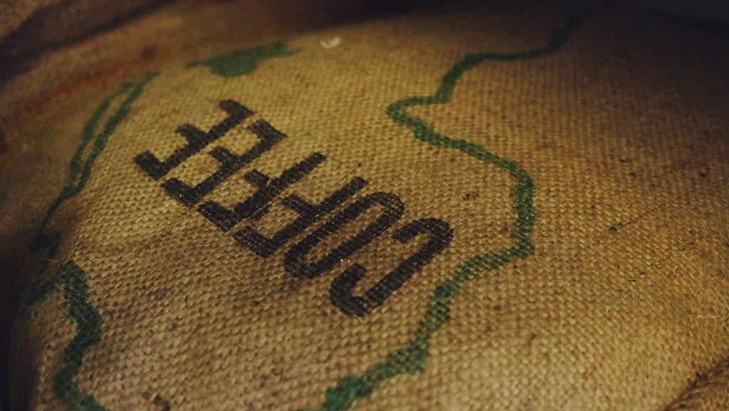 Coffee sack with an outline of Africa on it