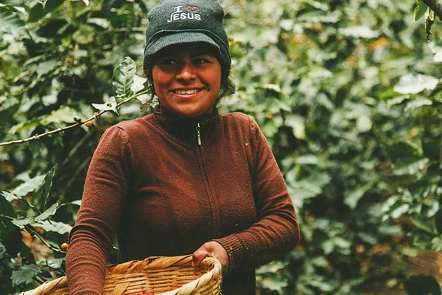 Female coffee farmer on farm