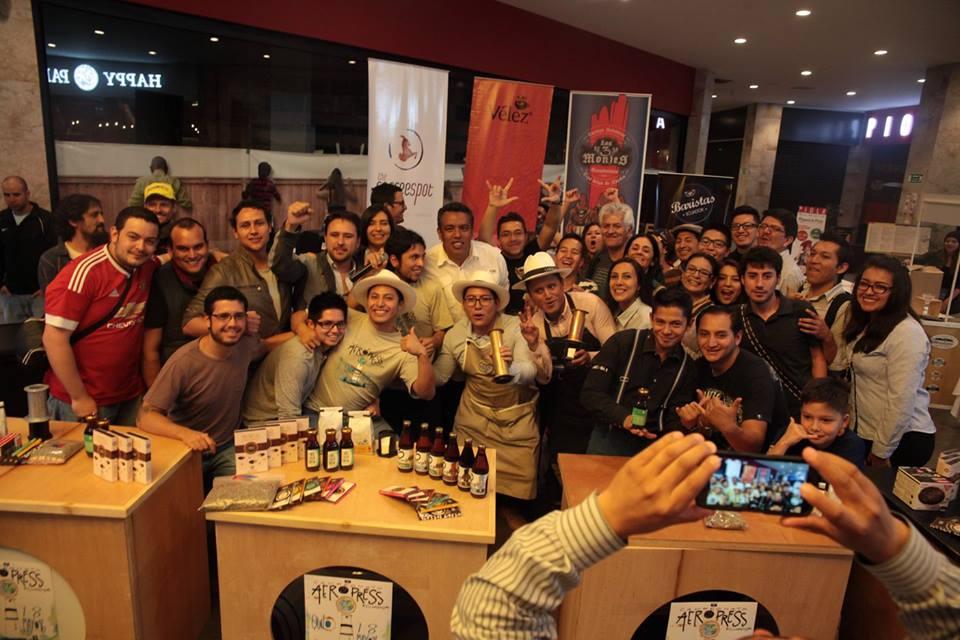 Group photo of everyone involved in the Ecuador AeroPress Championship 2016