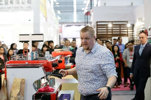 David Jameson behind the espresso machine.