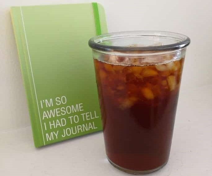 Cold brew coffee and journal