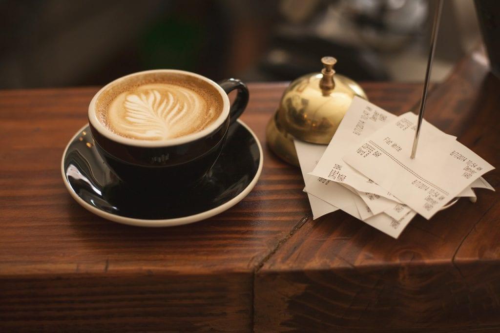 Coffee next to receipt