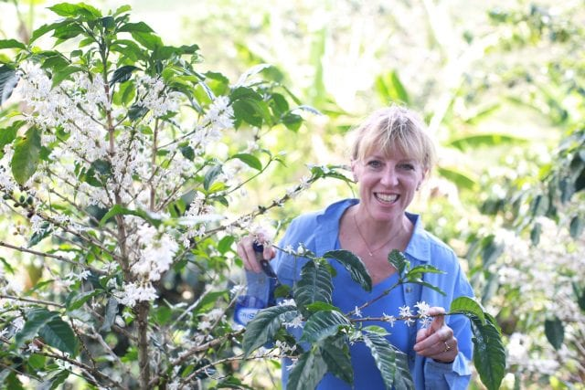 Kimberly Easson on a coffee farm.