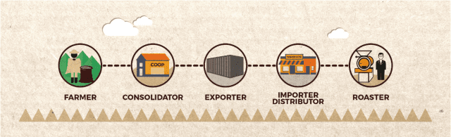 Traditional coffee supply chain model