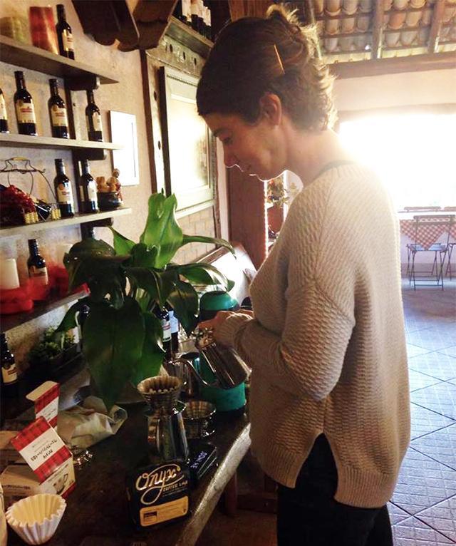 Andrea Allen making coffee