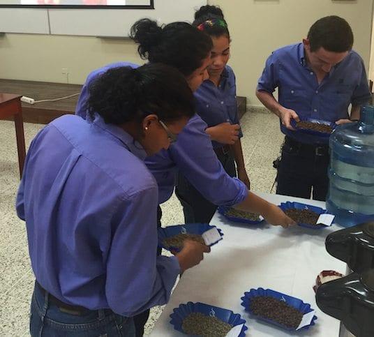 Students at Zamorano examine roasted beans