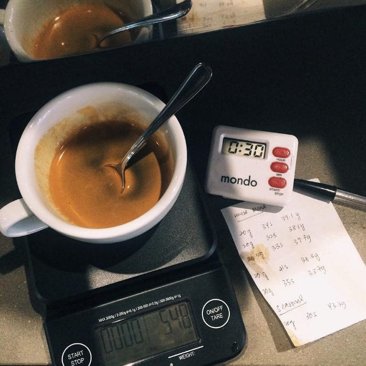 scene of coffee recipe development
