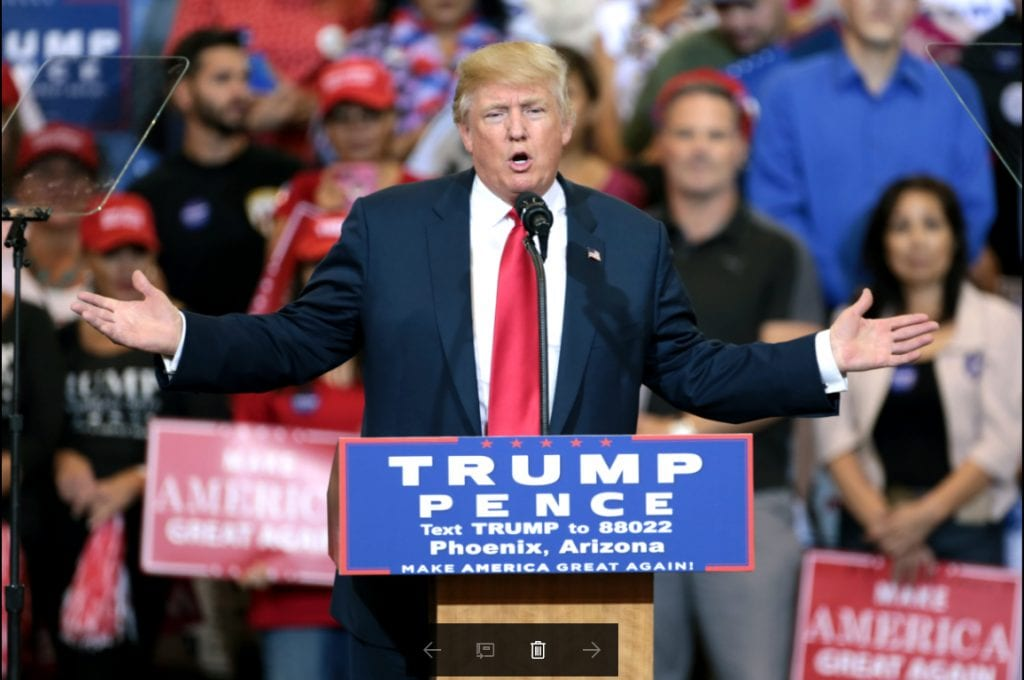 Donald Trump campaigns for President