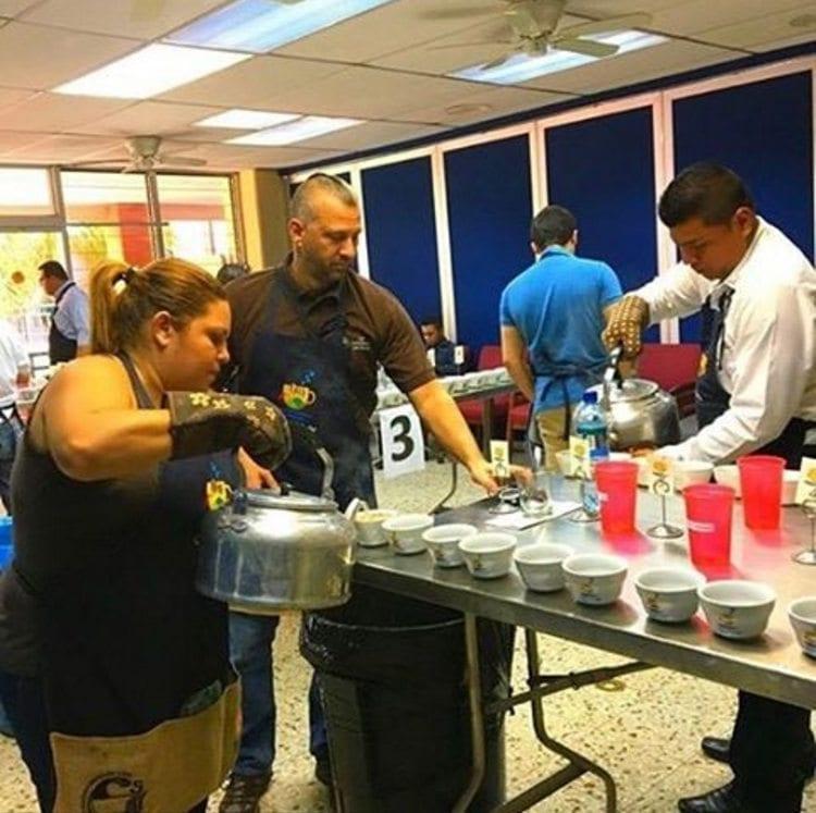 Cupping table in El Salvador