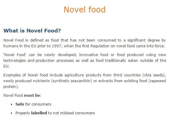EU Novel Food Definition
