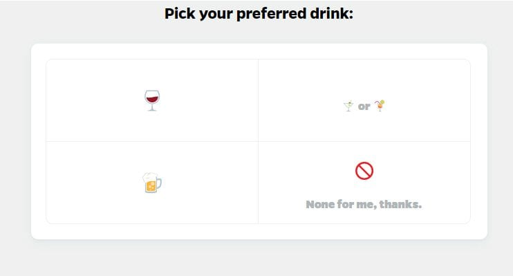 Alcohol question quiz in BuzzFeed Tasty personality quiz