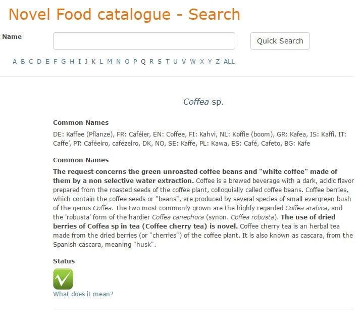 Cascara in Novel Food Catalogue