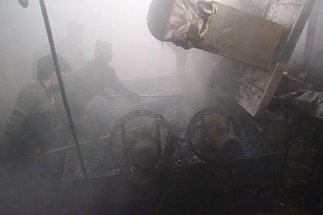 Smoky coffee roasting