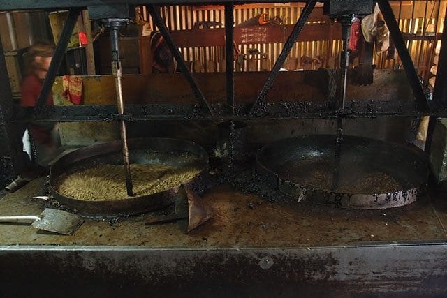 Semi-automated coffee roaster in action