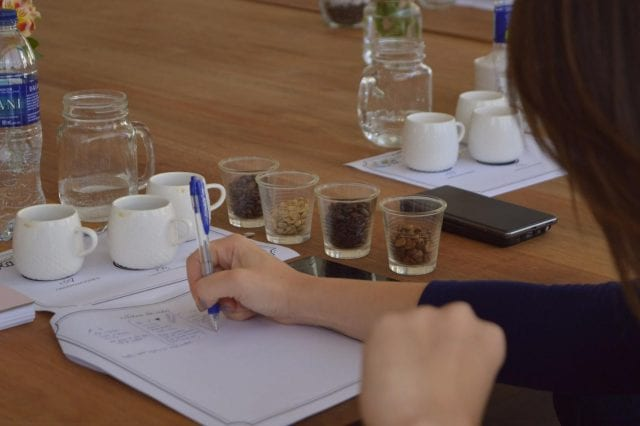 Woman taking notes during the cupping with samples od differents type of roasting
