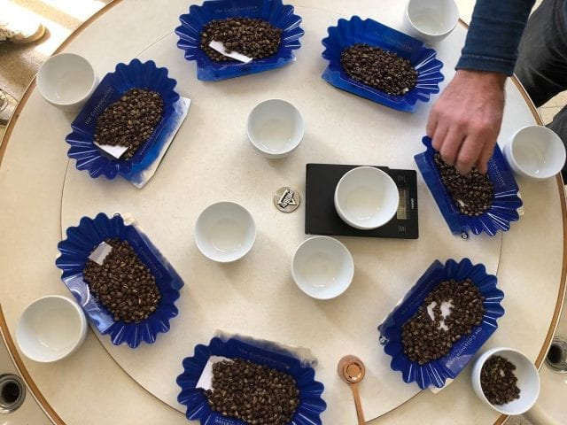 Cupping roasted coffee