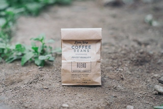 Printed label on a coffee bag