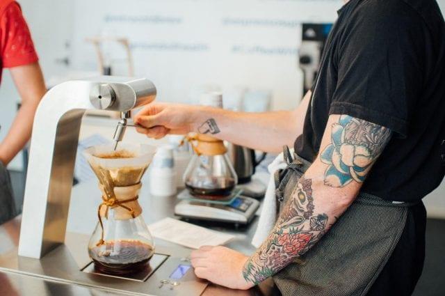 Decaf coffee being brewed