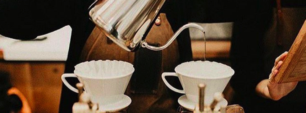 barista pouring water to brew a kalita