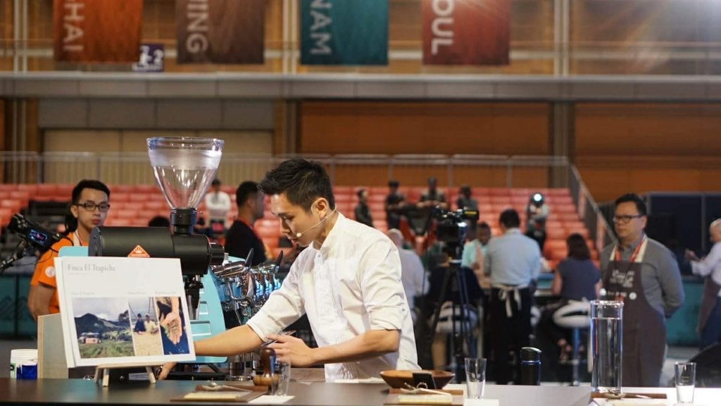 Barista making coffee during a competition
