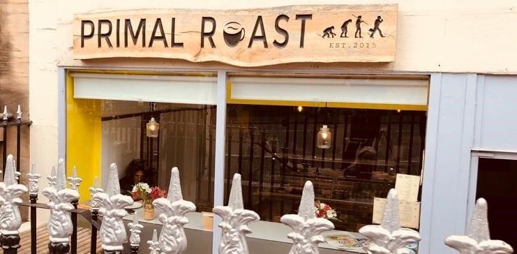 Exterior view of Primal Roast coffee shop.