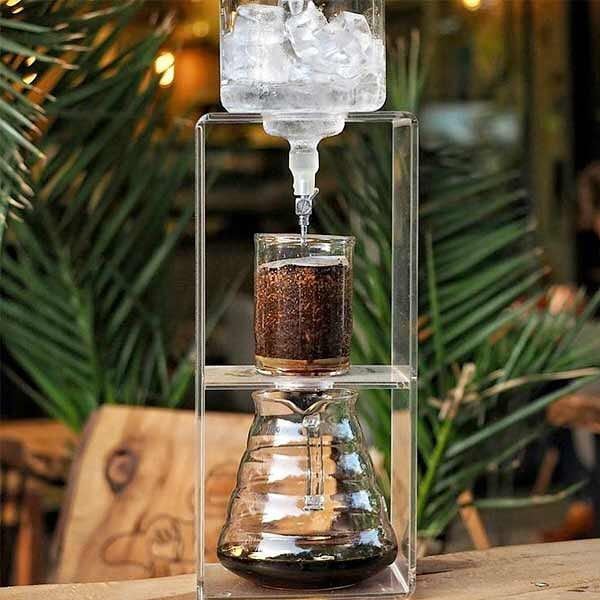 A Hario cold brew coffee tower.