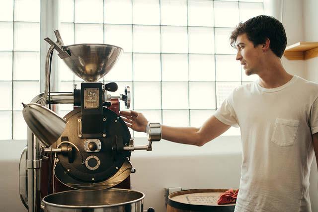 coffee roaster at work