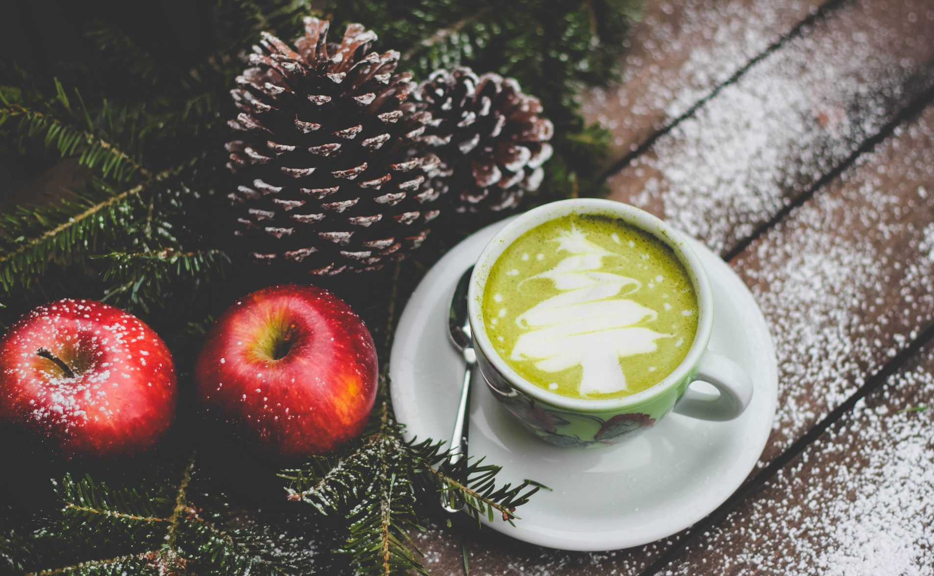 Matcha Latte with latte art of a christmas tree