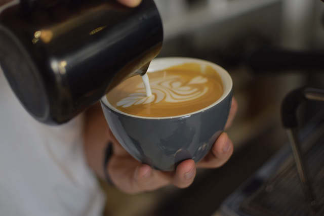 barista pouring latte art into cup