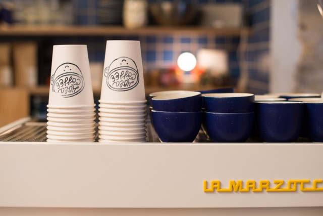 cups on top of La Marzocco espresso machine