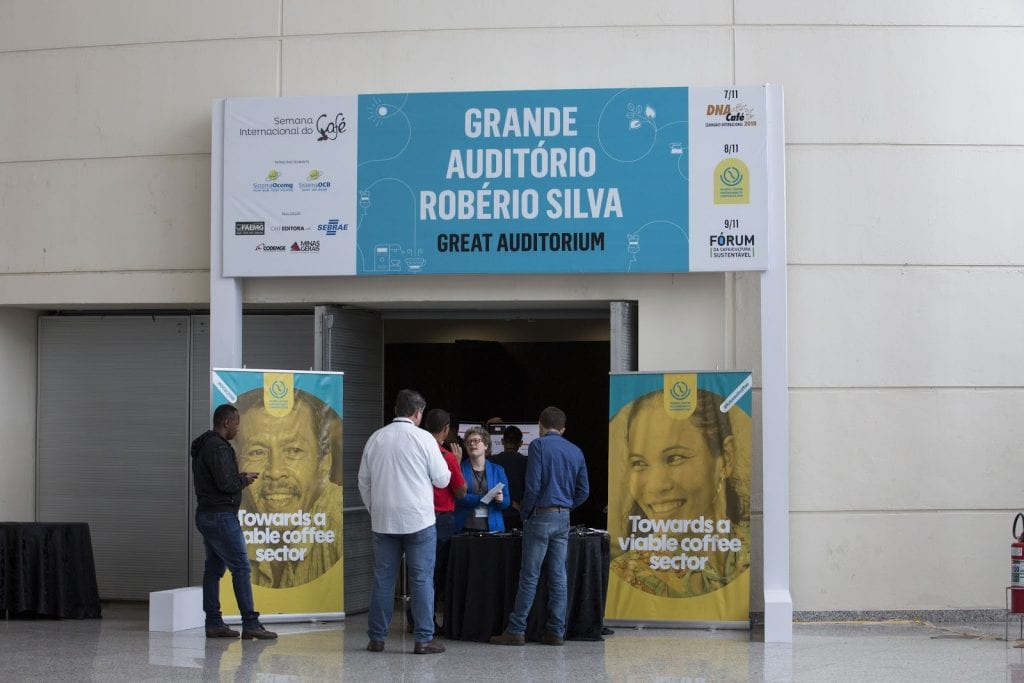 people entering the global coffee sustainability conference