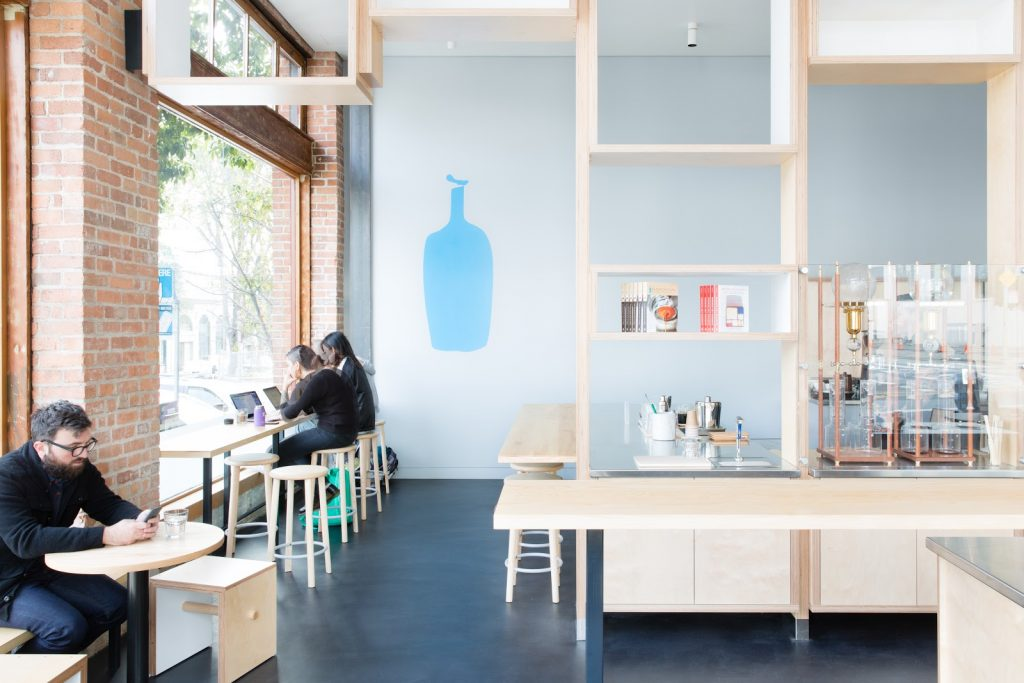 blue bottle coffee shop interior