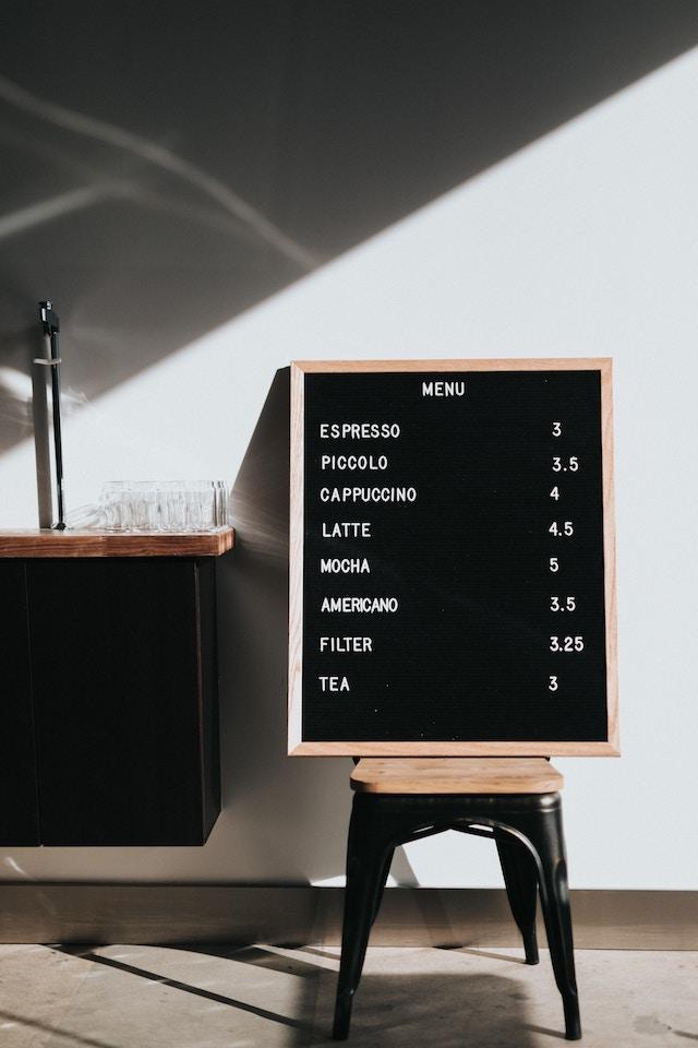 preços de cafeteria