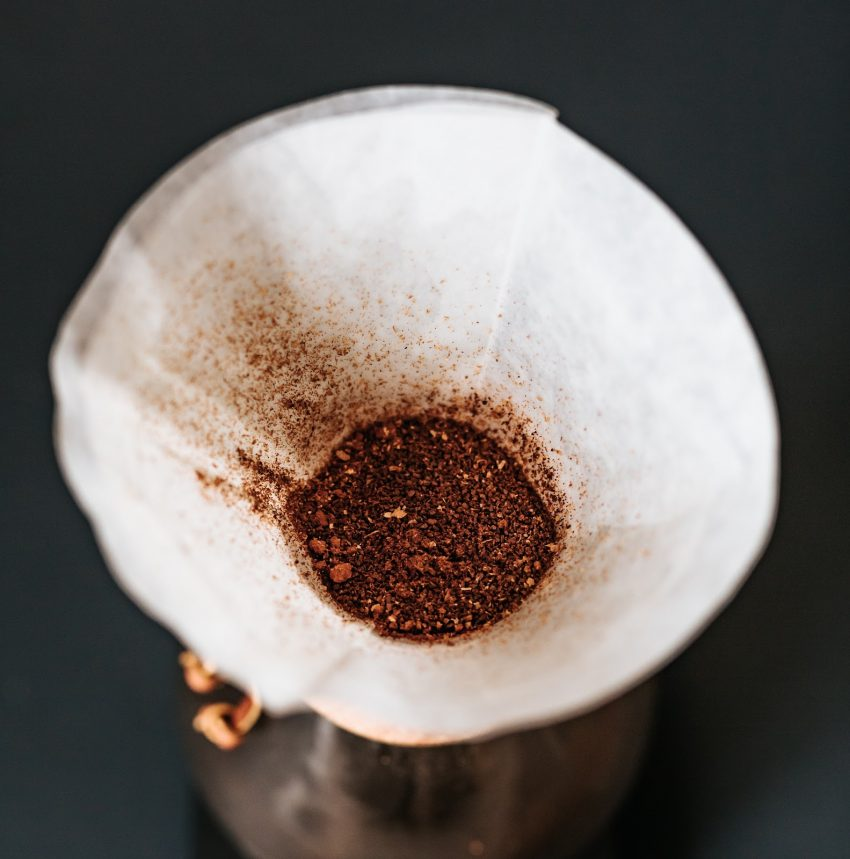 coffee grounds on chemex paper filter