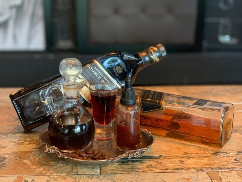 whiskey, wine, bitters and coffee for cocktail