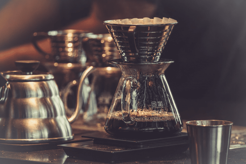 brewed coffee on a kalita wave