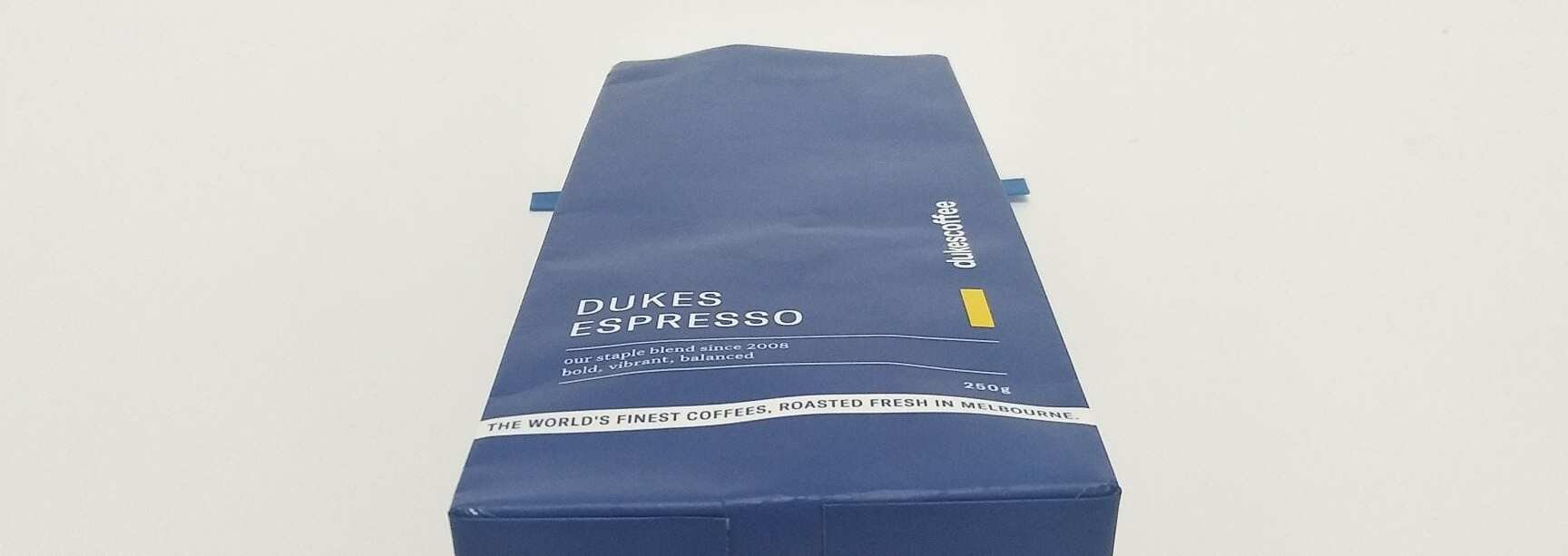 A blue coffee bag
