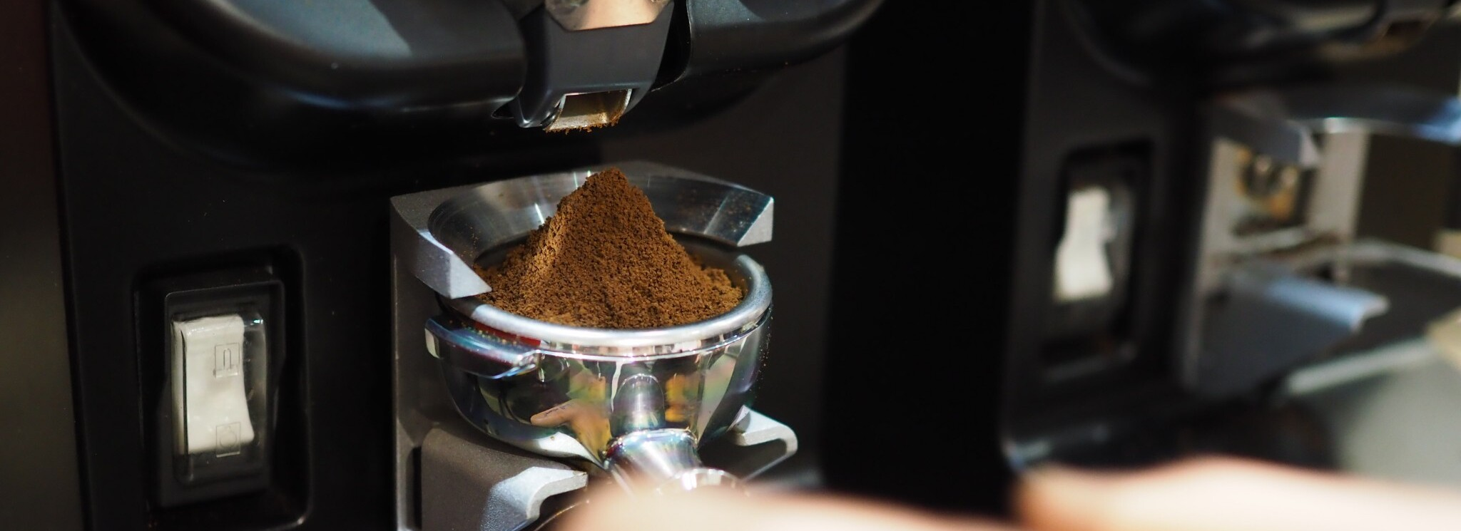 Fresh grinded coffee in the portafilter