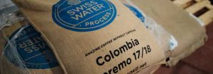 Bag of green coffee beans from Colombia
