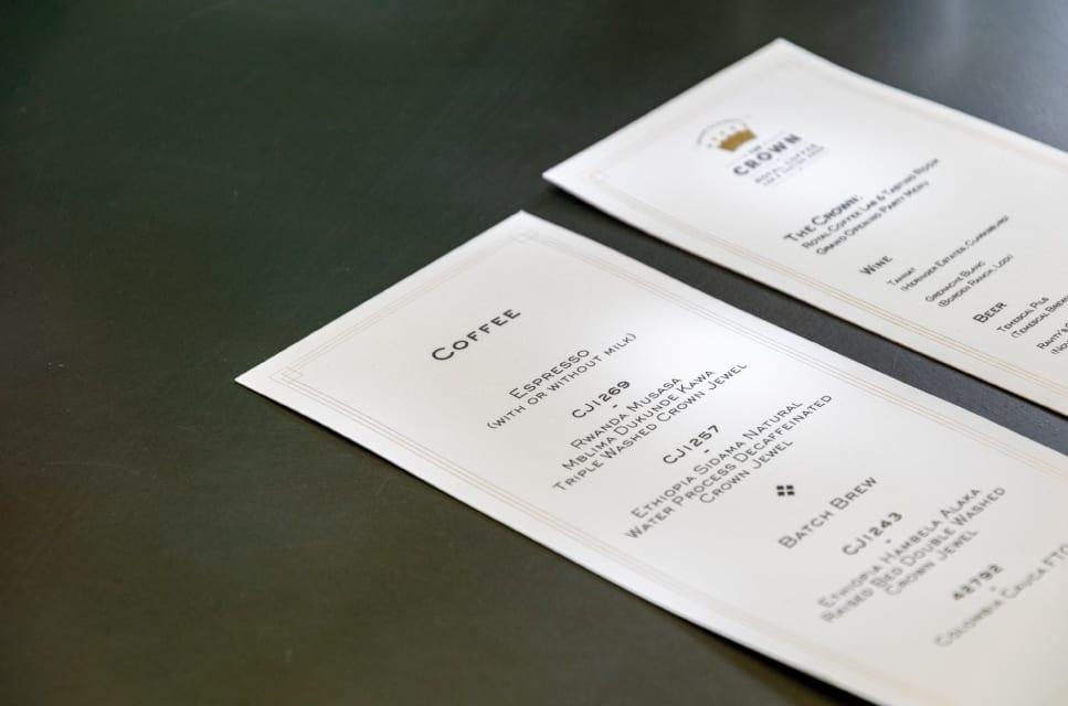 Menu de café do Royal Coffee Lab